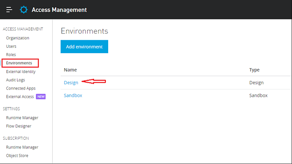 Access manager- environments tab