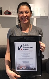 Paola Fulchignoni with our ISO certificate 2018