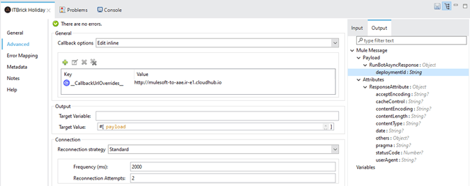 Run Bot Async configuration window – General tab
