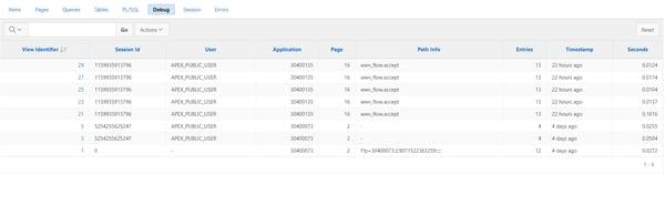 Oracle APEX debug page sample