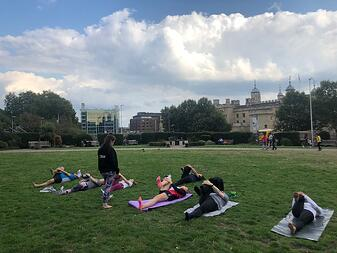 Yoga class in the park