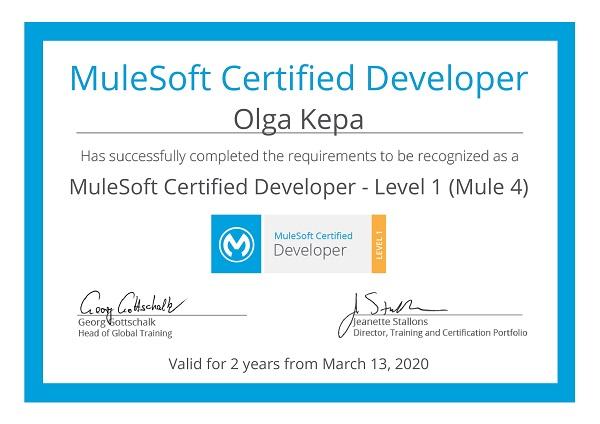 Olga Kepa, MuleSoft certification