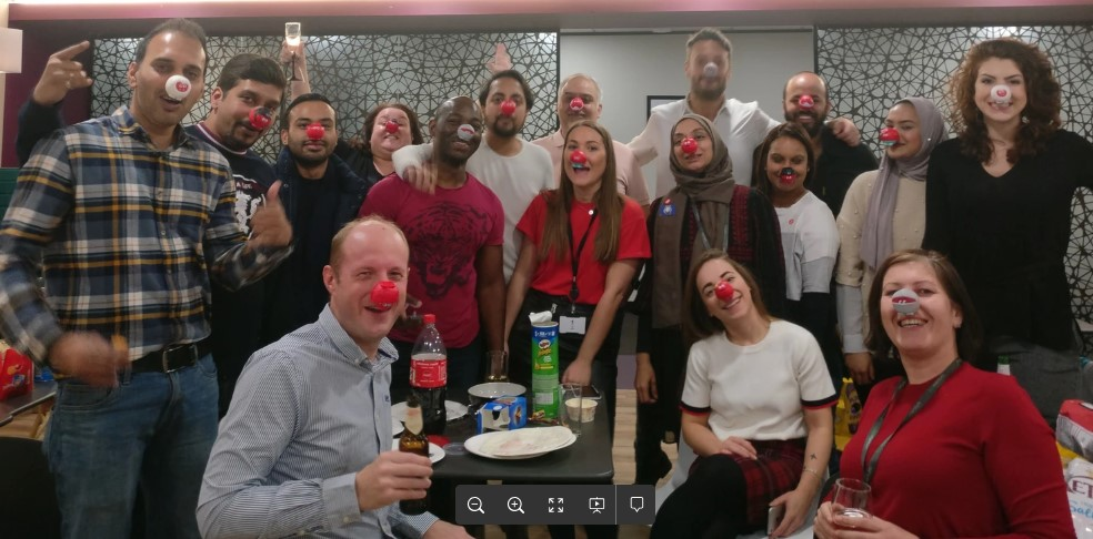 Red Nose day and a great pie fight